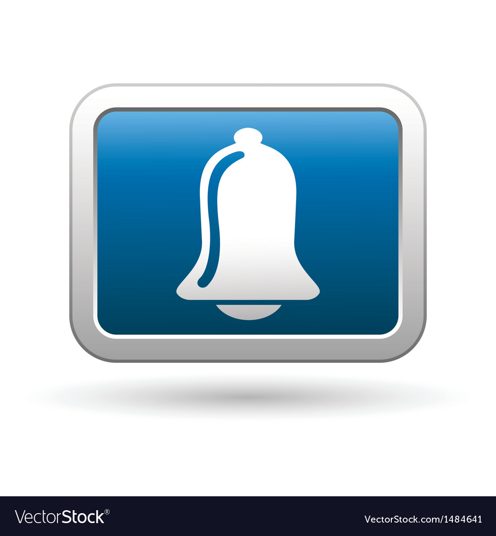Ringing bell icon on blue with silver button vector | Price: 1 Credit (USD $1)