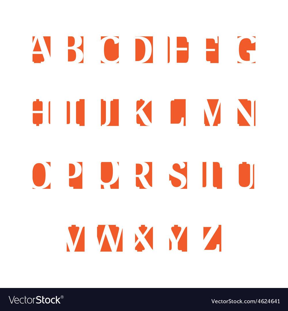 Set of alphabet symbols icons orange vector   Price: 1 Credit (USD $1)