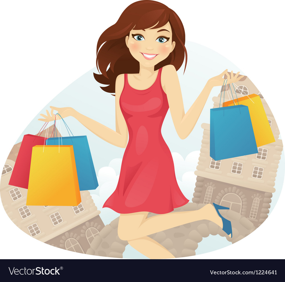Shopping girl vector | Price: 3 Credit (USD $3)