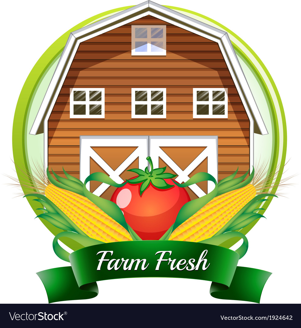 A farm fresh label with a brown barnhouse a tomato vector   Price: 3 Credit (USD $3)