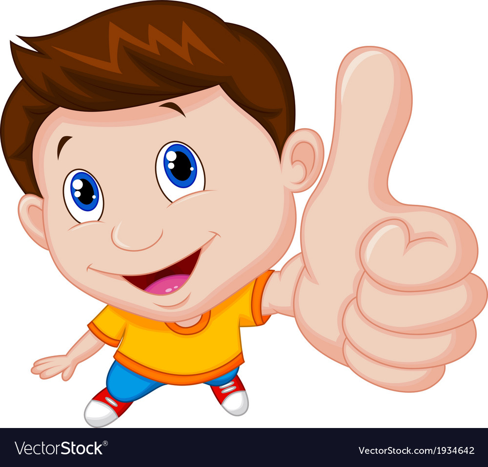Boy cartoon with thumb up vector | Price: 1 Credit (USD $1)