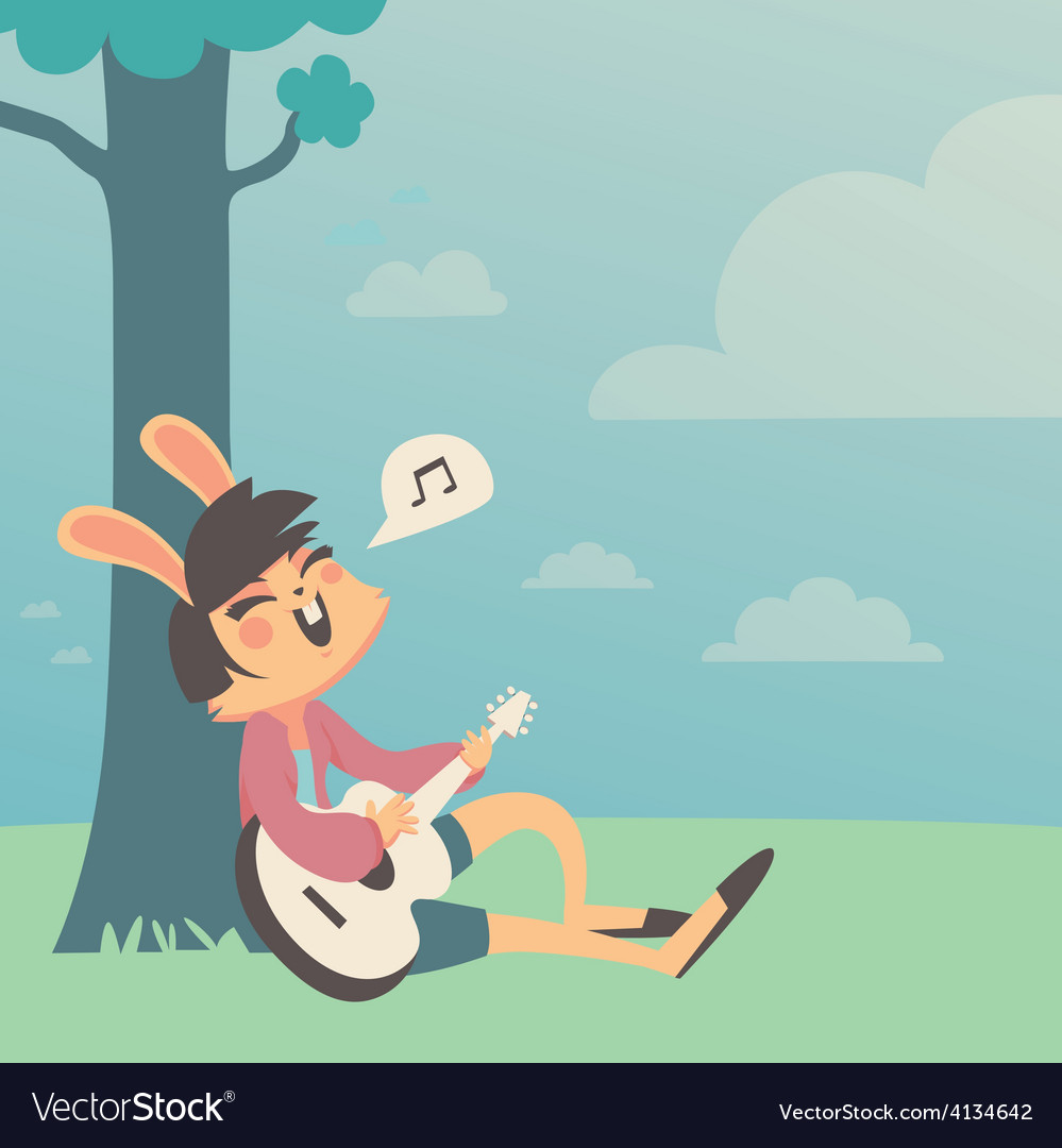 Bunny girl singing under a tree vector | Price: 3 Credit (USD $3)