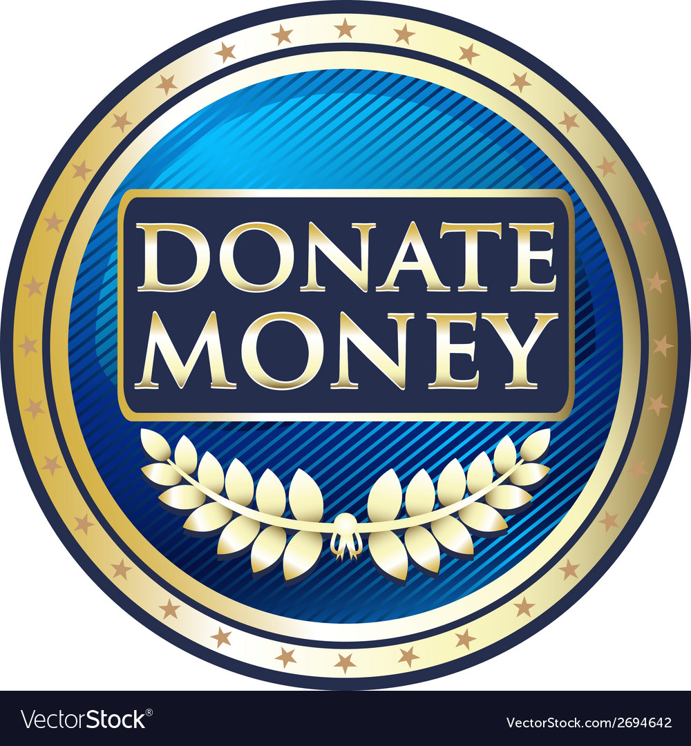 Donate money blue label vector | Price: 1 Credit (USD $1)