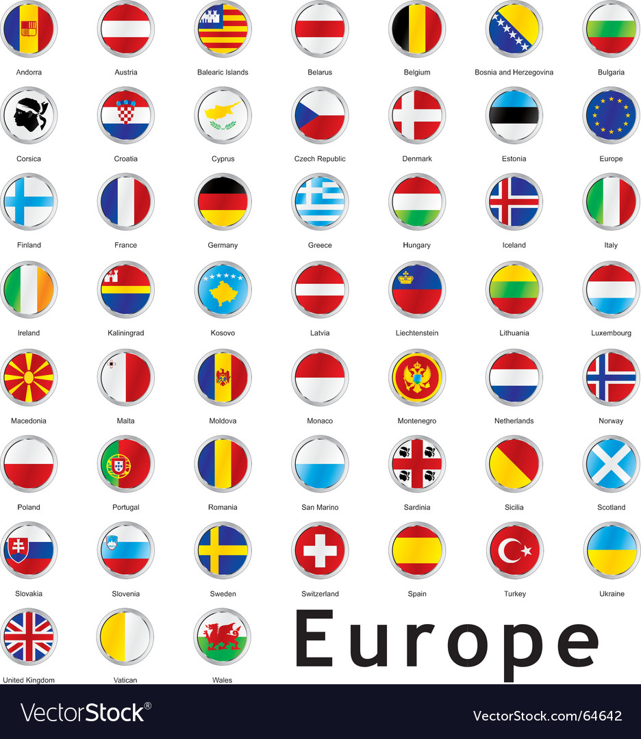 Europe round flags vector | Price: 1 Credit (USD $1)