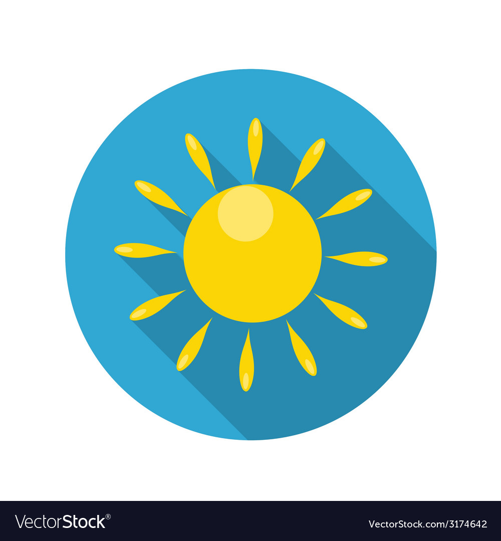 Flat design concept sun icon with long shado vector | Price: 1 Credit (USD $1)