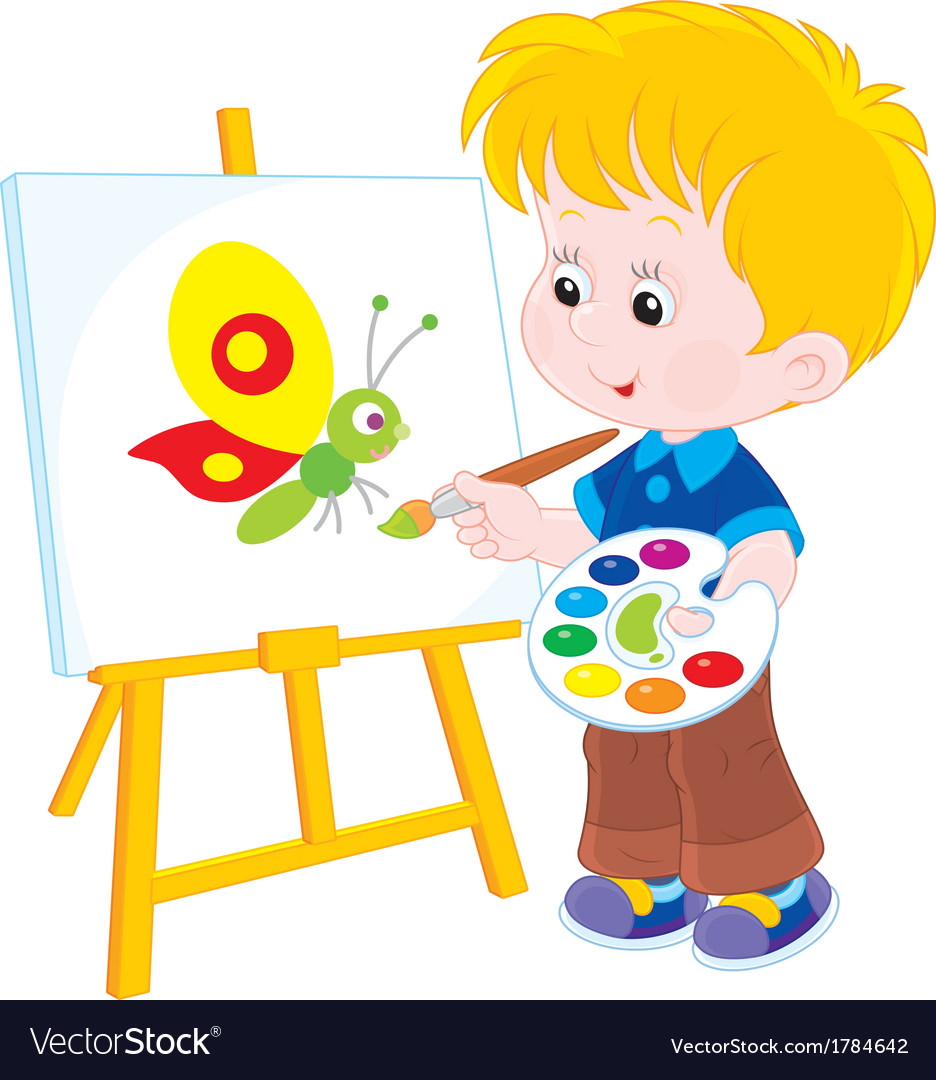 Little artist draws vector | Price: 1 Credit (USD $1)