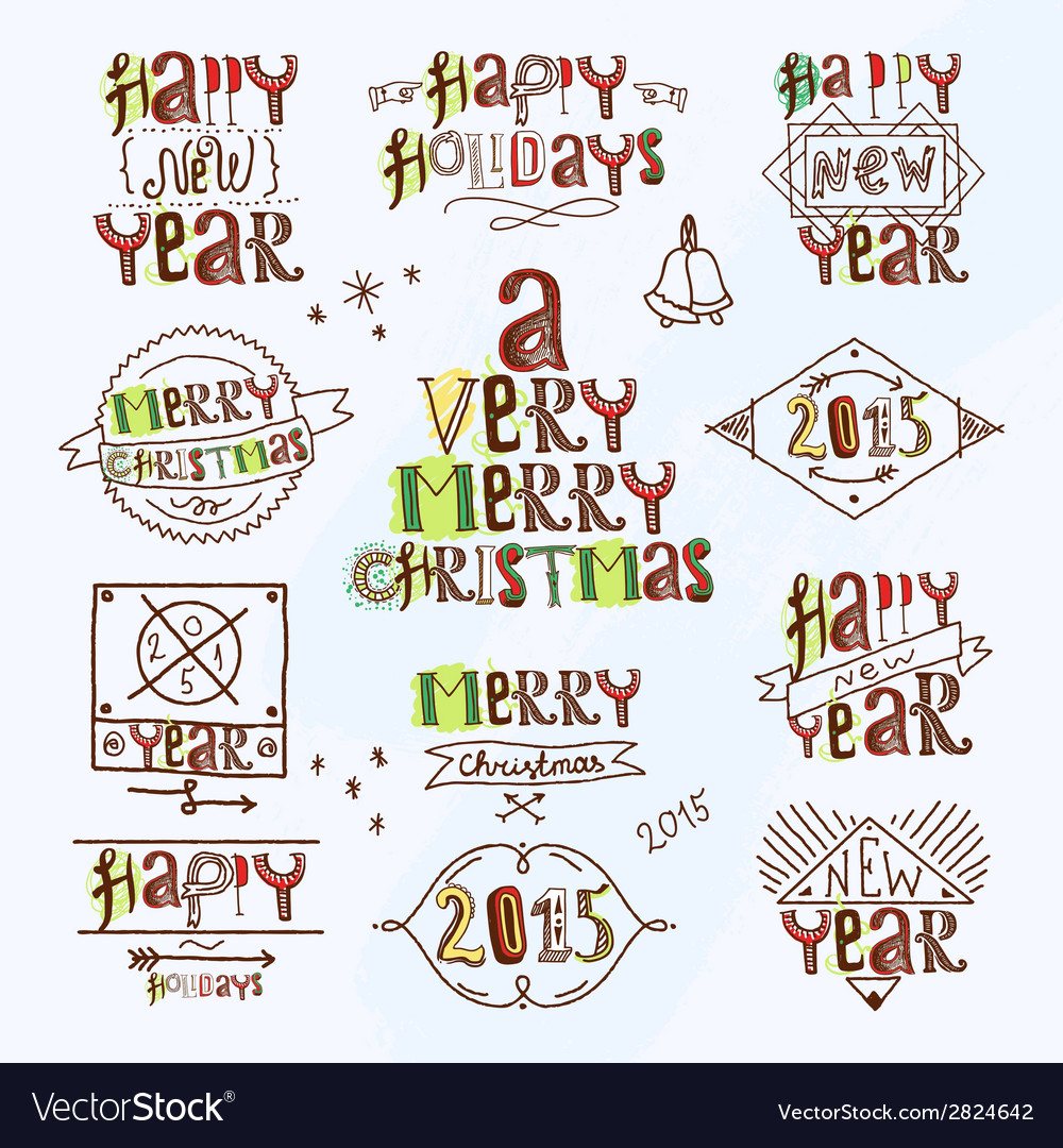 Merry christmas type label vector | Price: 1 Credit (USD $1)