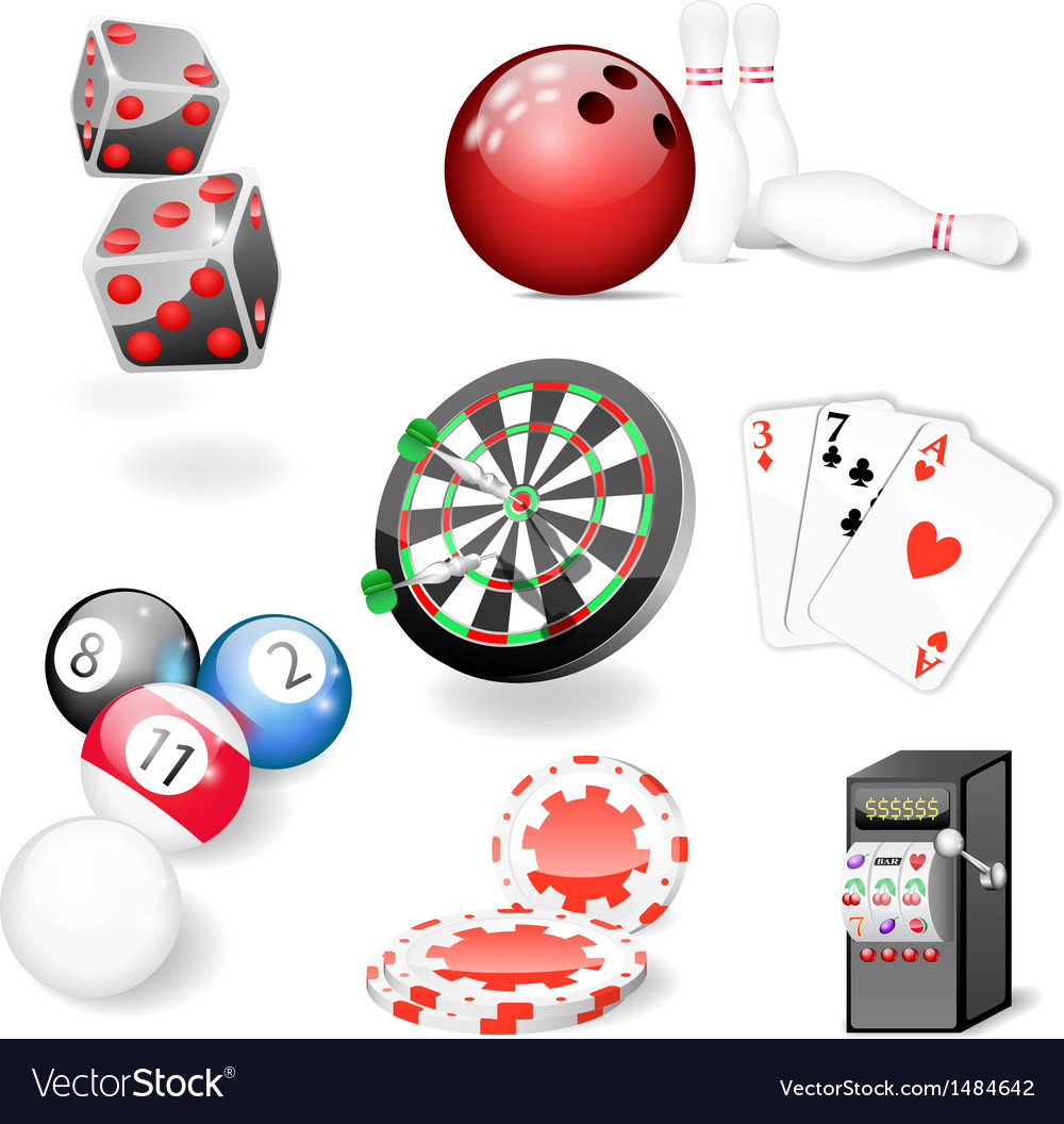 Set of casino and game elements vector | Price: 1 Credit (USD $1)