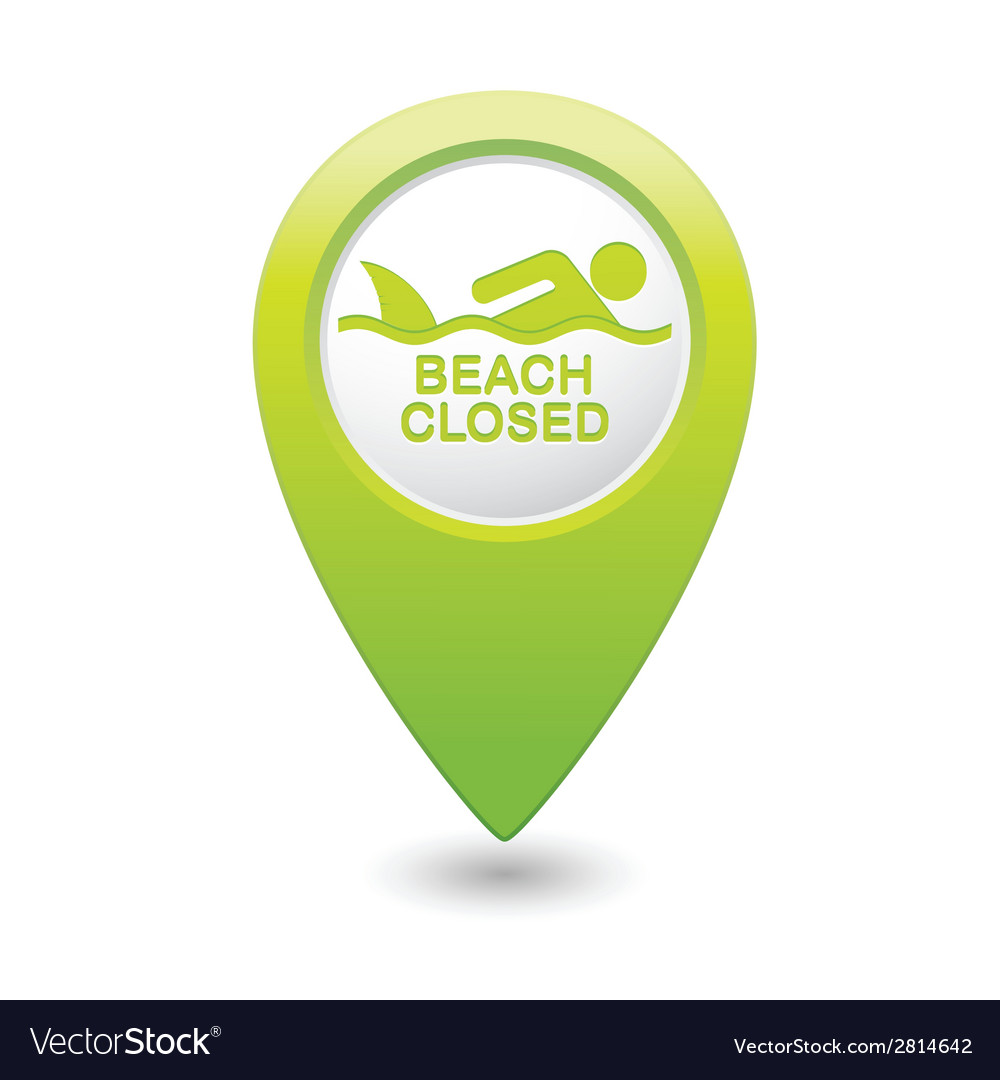Shark sighting icon green map pointer vector | Price: 1 Credit (USD $1)