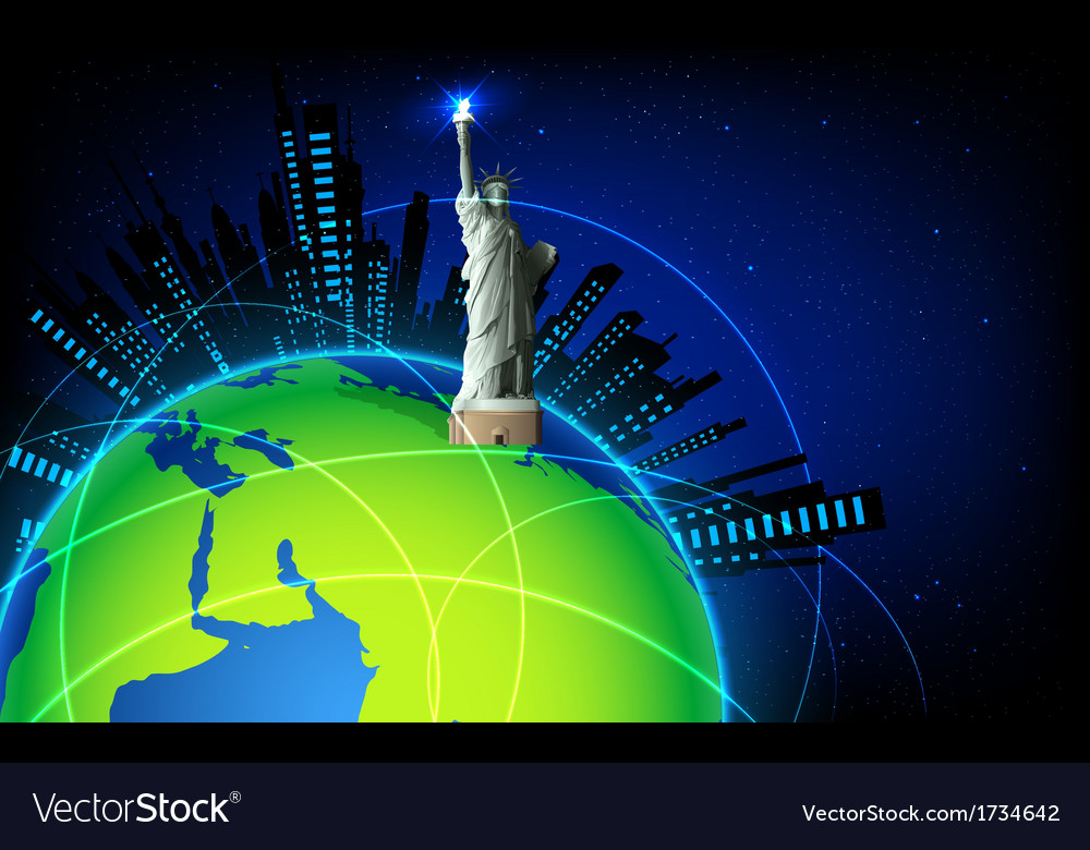 Statue of liberty on earth vector | Price: 1 Credit (USD $1)