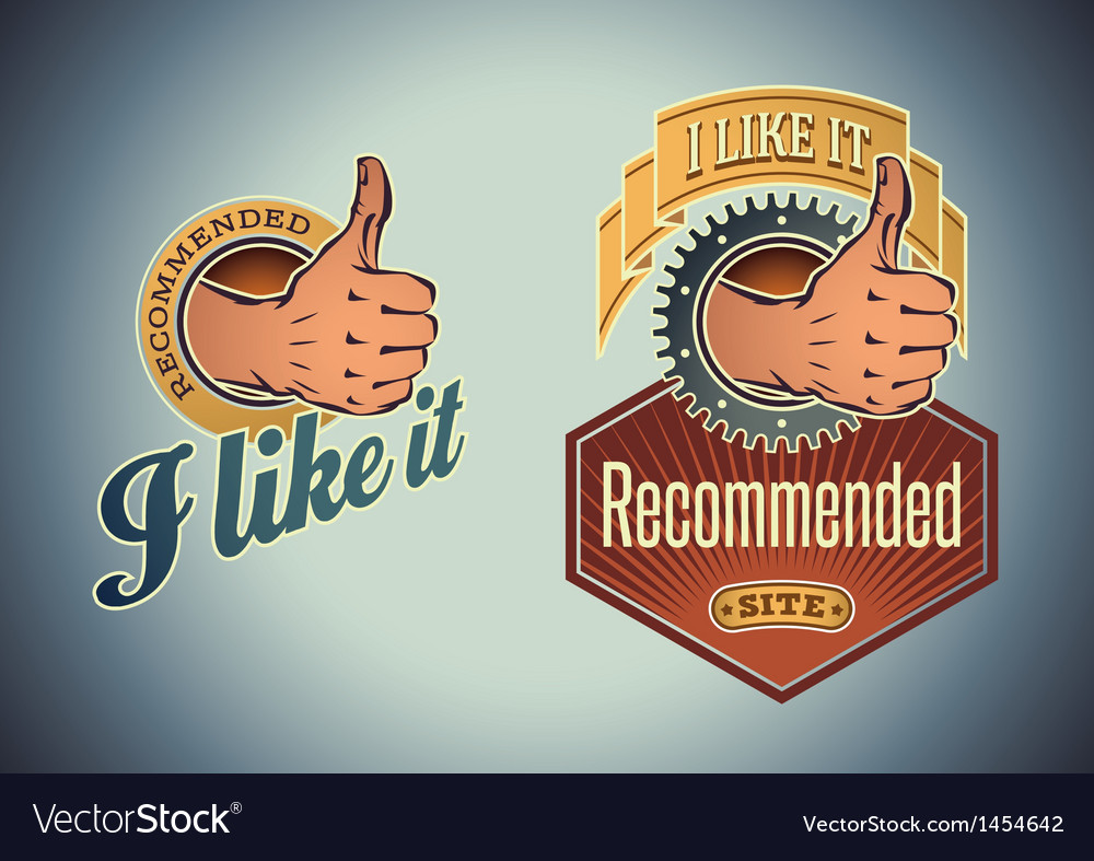 Thumb up labels vector | Price: 1 Credit (USD $1)