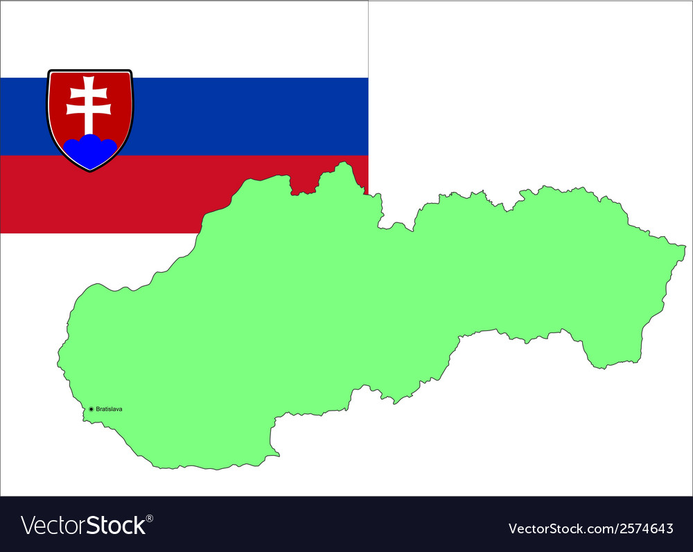 6215 slovakia map and flag vector | Price: 1 Credit (USD $1)