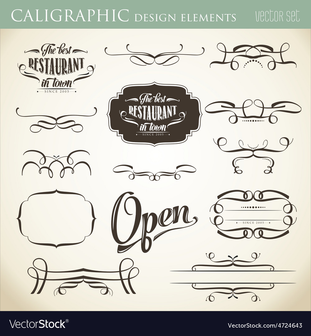 Calligraphic design elements to embellish your vector | Price: 1 Credit (USD $1)