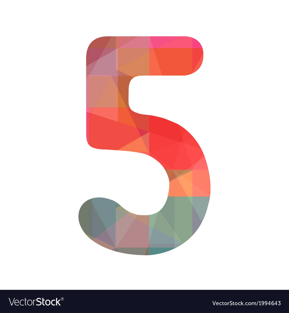 Colorful number five vector | Price: 1 Credit (USD $1)