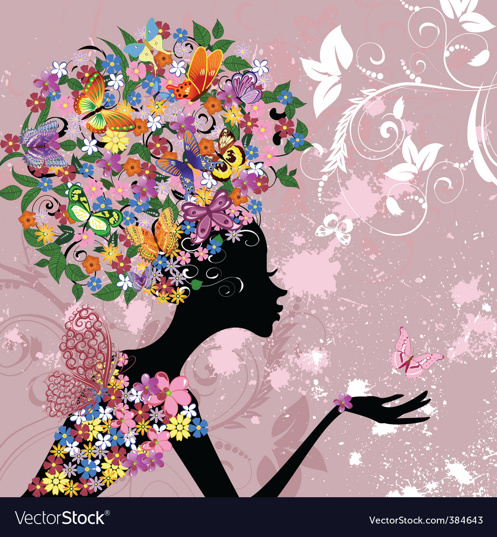 Flower lady with butterflies vector | Price: 1 Credit (USD $1)