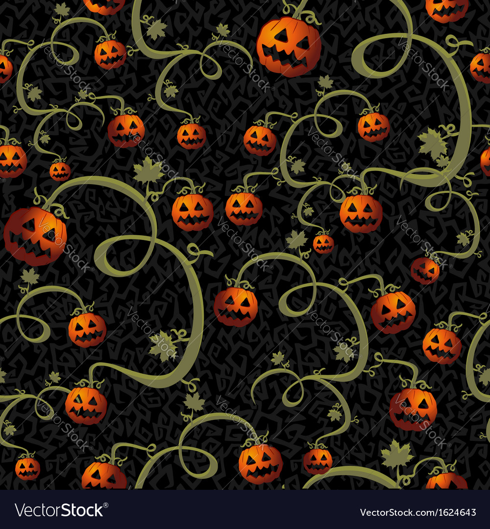 Halloween spooky pumpkins seamless pattern vector | Price: 1 Credit (USD $1)