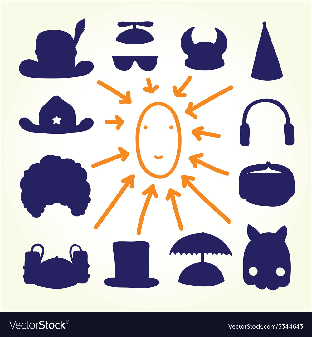 Hand drawn cartoon doodle hats vector | Price: 1 Credit (USD $1)