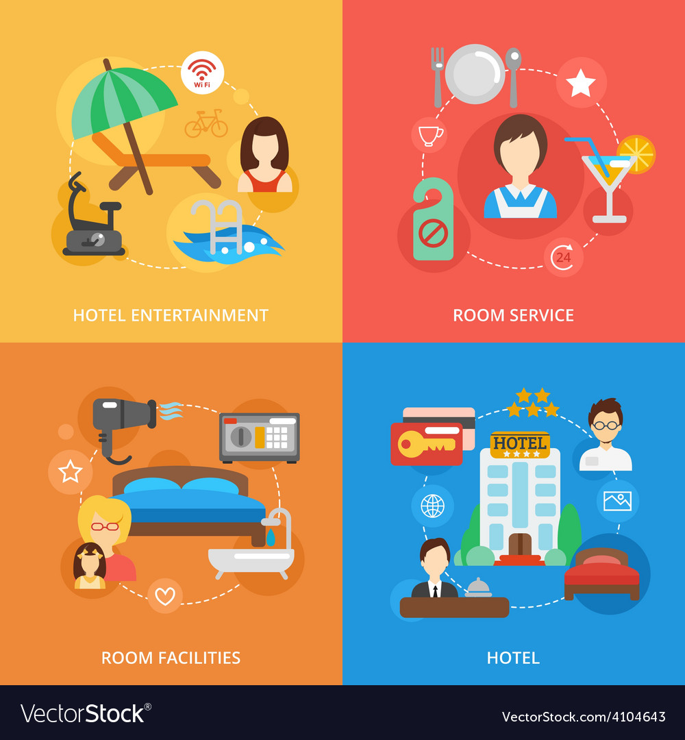 Hotel flat set vector | Price: 1 Credit (USD $1)