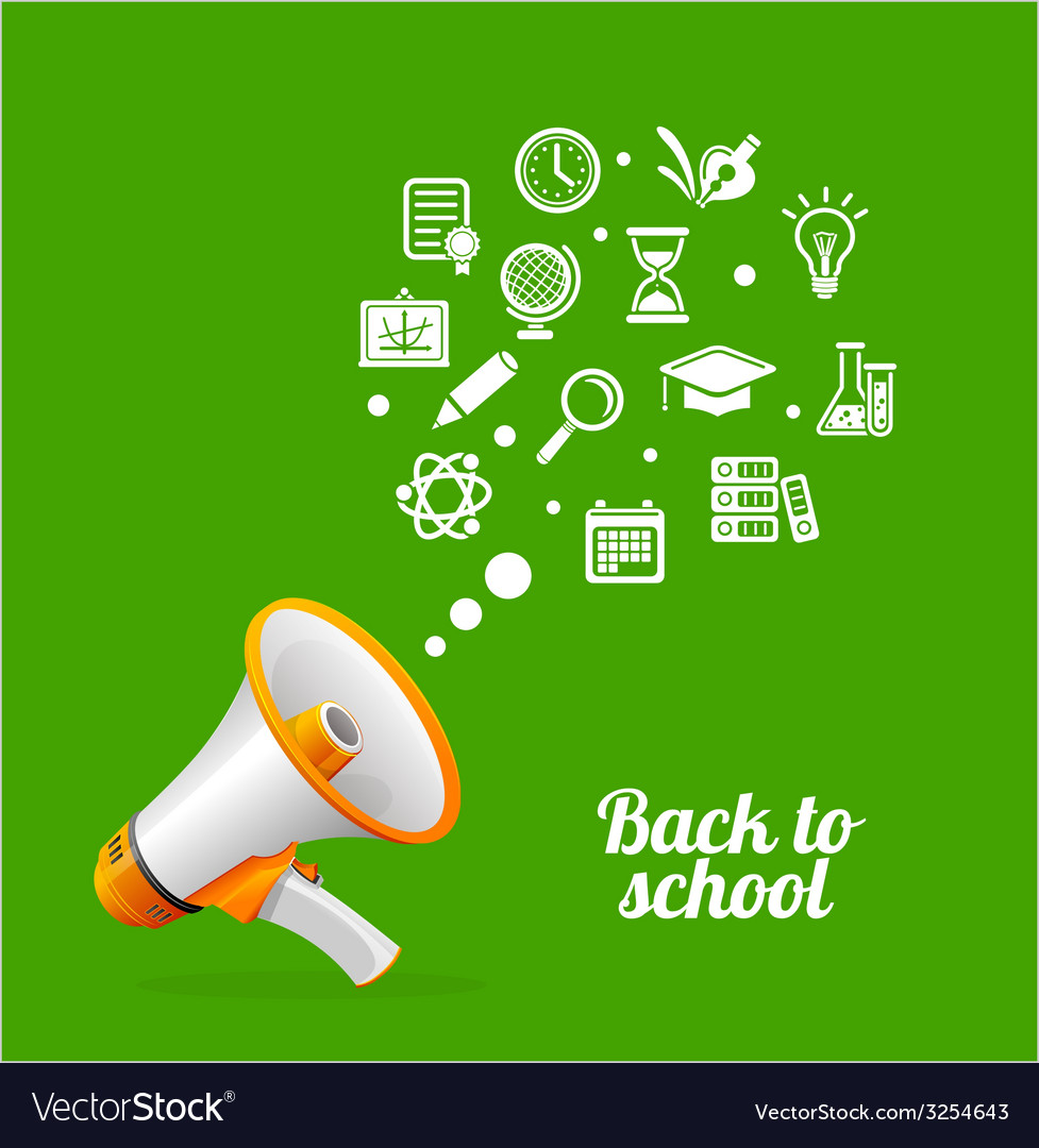 Megaphone and icon back to school concept vector | Price: 1 Credit (USD $1)