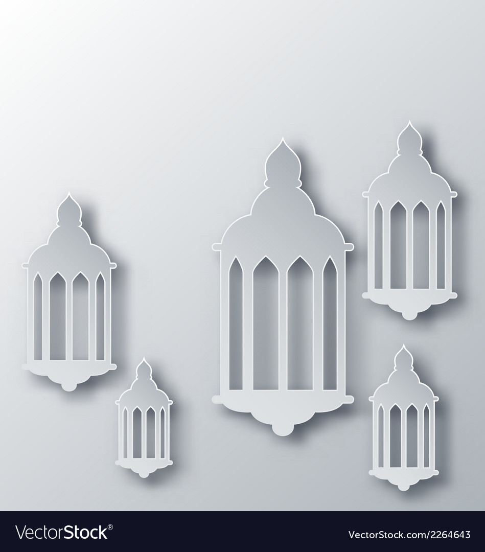 Paper arabic lamp with shadow for holy month vector | Price: 1 Credit (USD $1)