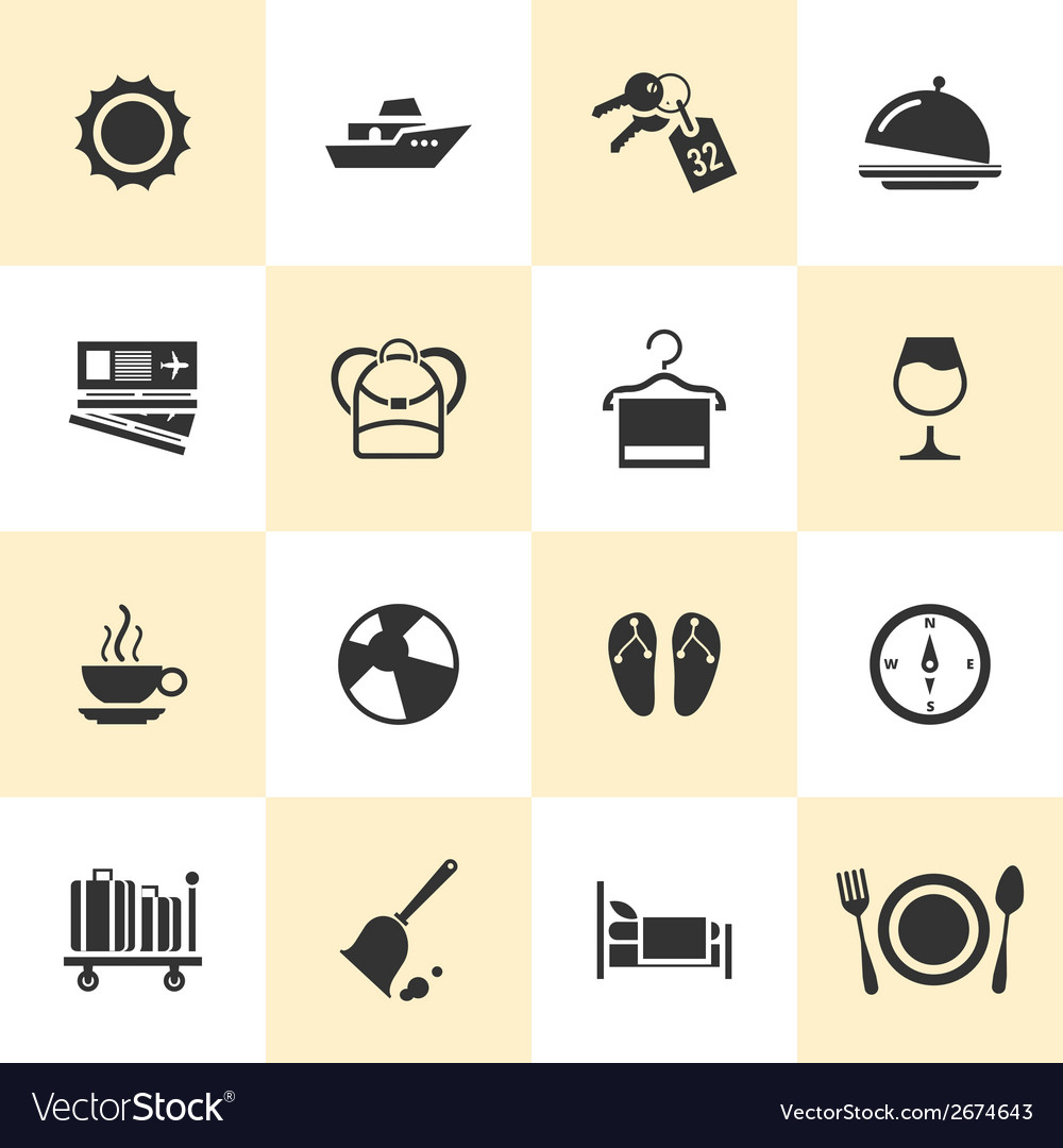 Set of black travel and tourism icons vector | Price: 1 Credit (USD $1)