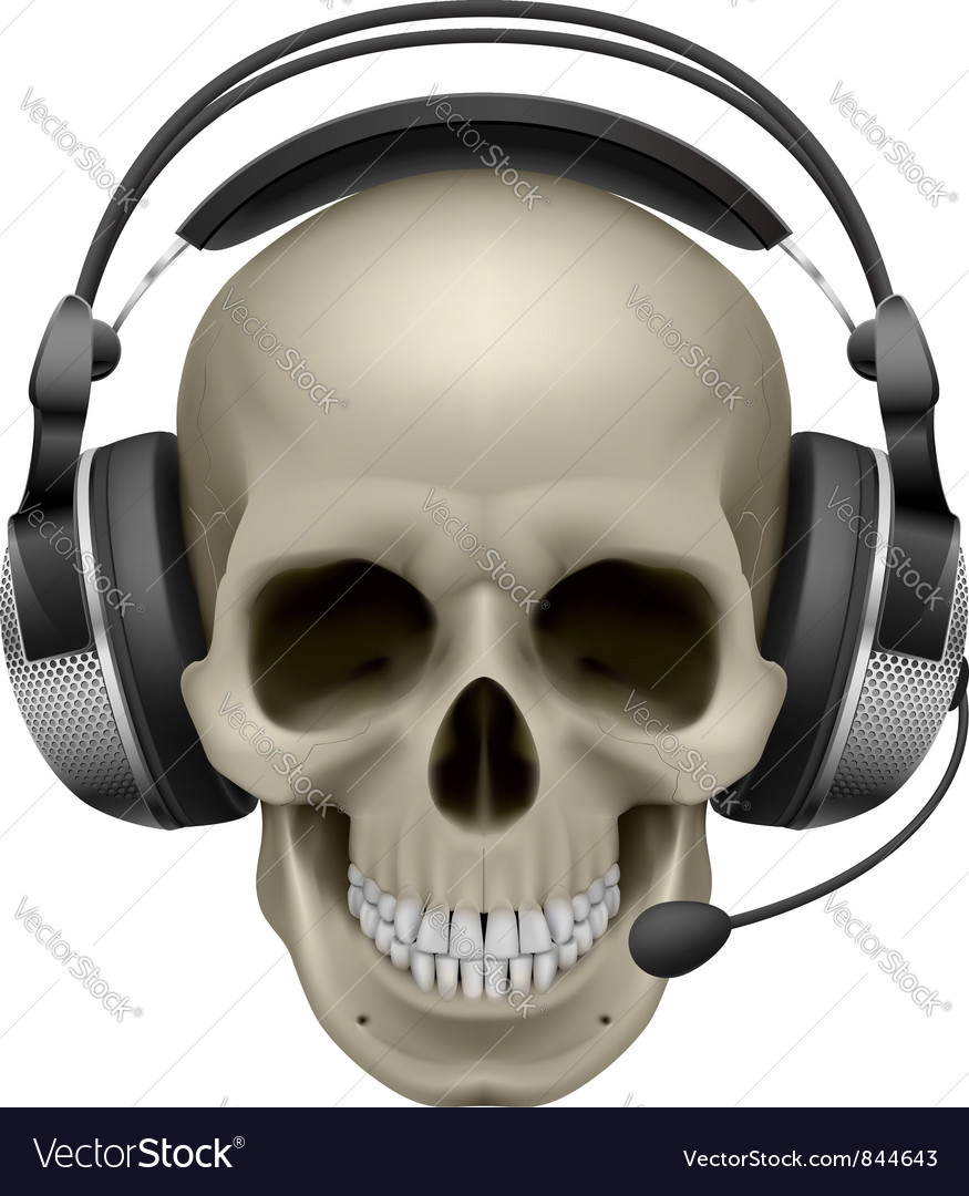 Skull with headphones vector | Price: 3 Credit (USD $3)