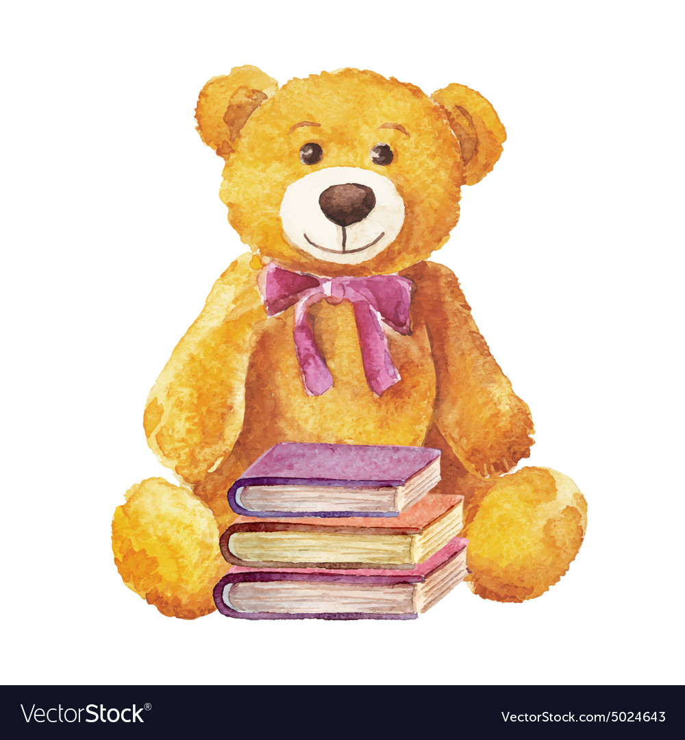 Teddy bear sitting with books watercolor stock vector