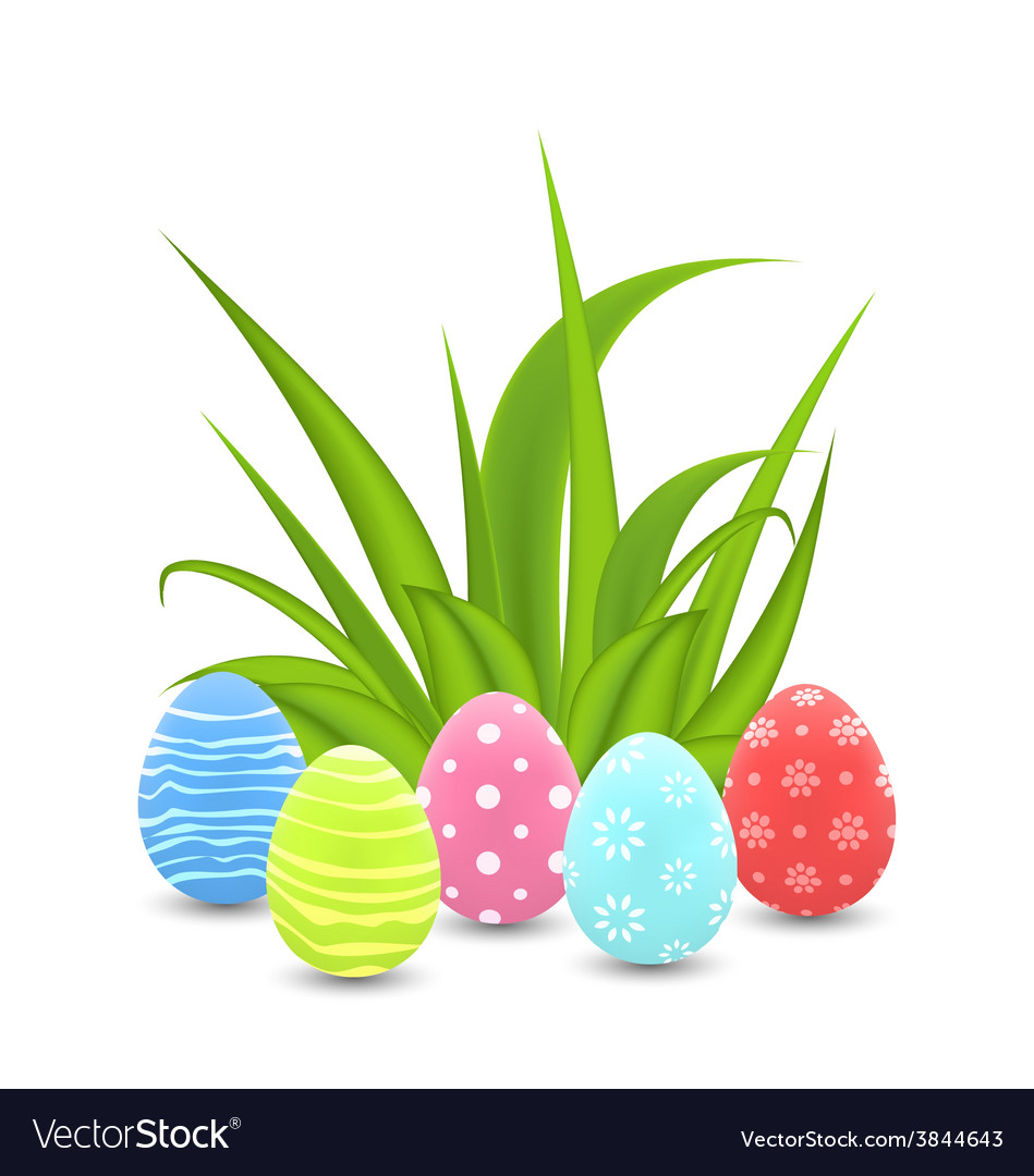 Traditional colorful ornamental eggs with grass vector | Price: 1 Credit (USD $1)