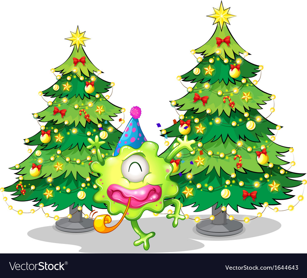 Two tall christmas trees at the back of a happy vector | Price: 3 Credit (USD $3)
