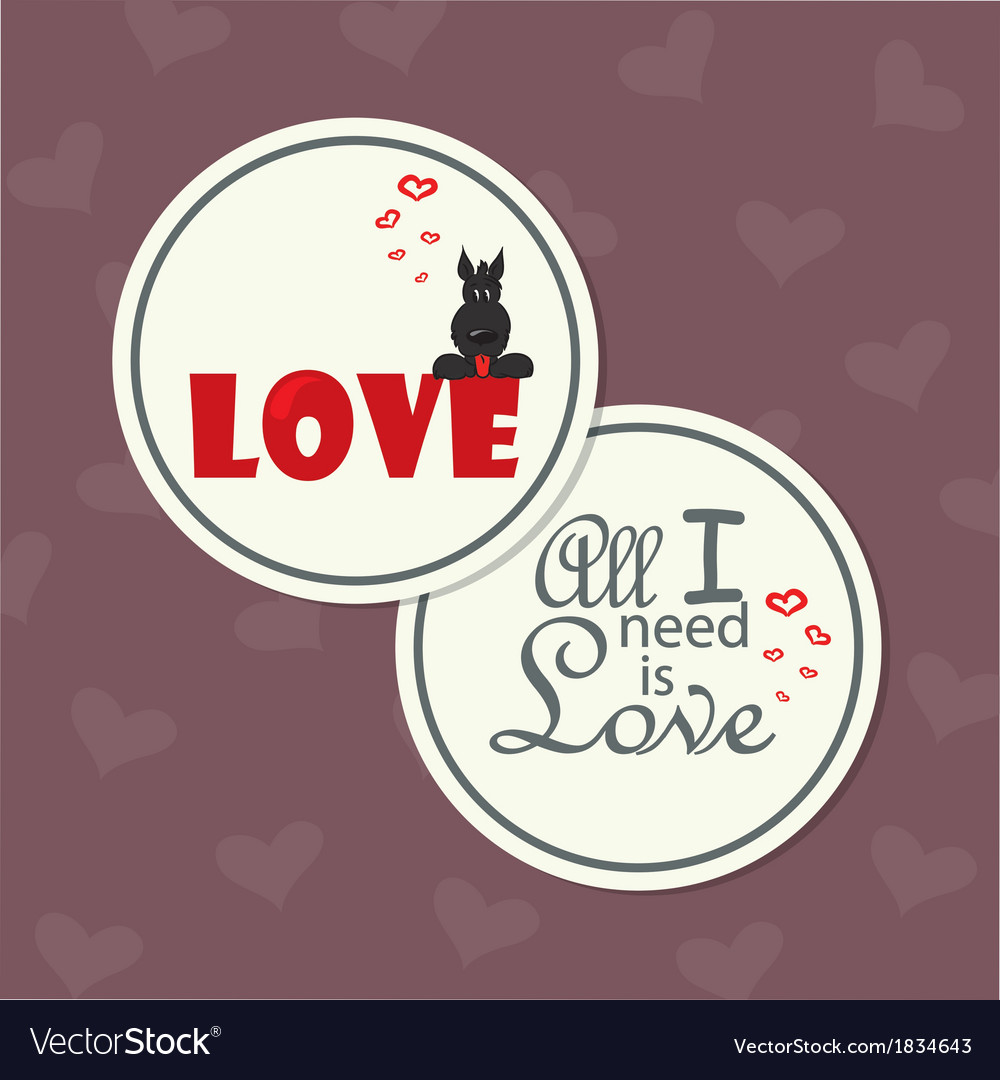 Valentine card with dog on word love vector | Price: 1 Credit (USD $1)