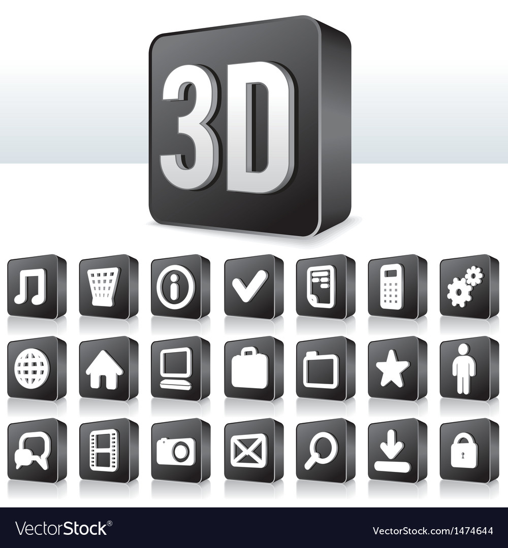 3d apps icon technology pictogram on square button vector | Price: 1 Credit (USD $1)