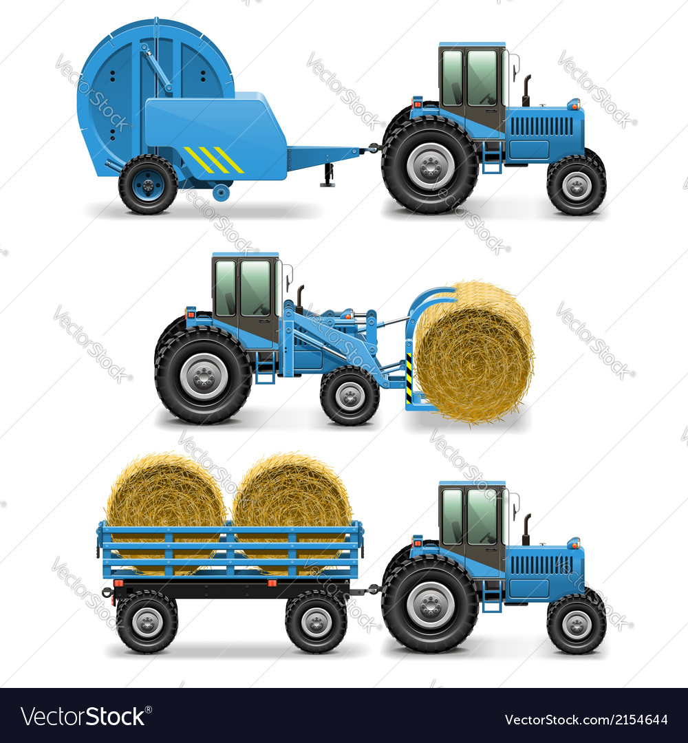 Agricultural tractor set 5 vector | Price: 3 Credit (USD $3)