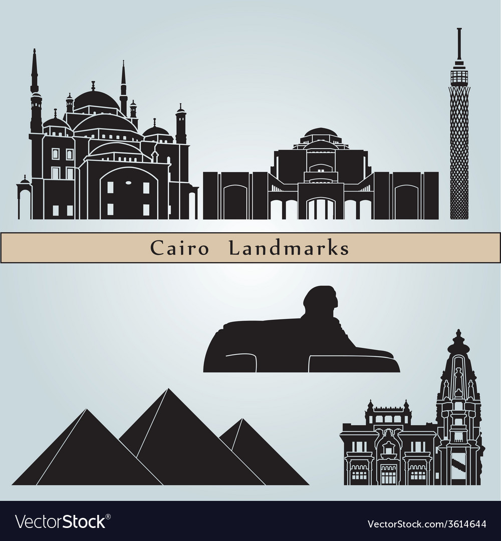 Cairo landmarks and monuments vector | Price: 1 Credit (USD $1)