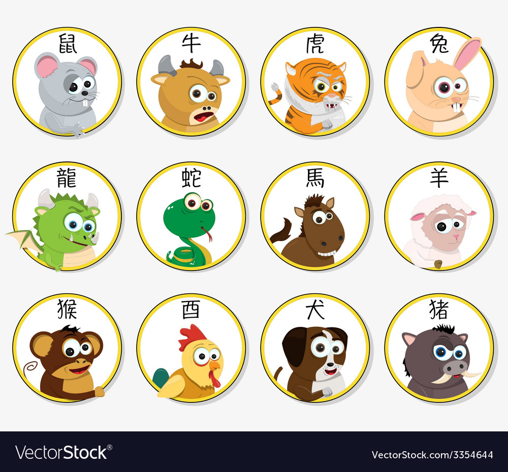 Chinese zodiac animals vector | Price: 1 Credit (USD $1)