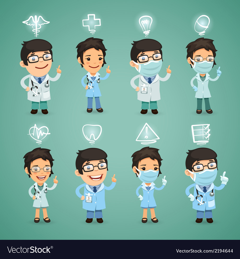 Doctors with simbols set vector | Price: 1 Credit (USD $1)