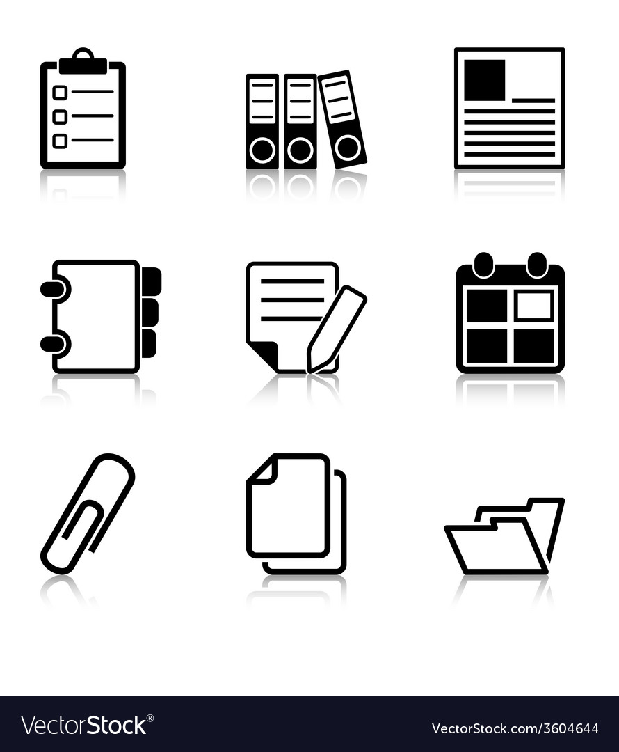Document office icons with refection vector | Price: 1 Credit (USD $1)