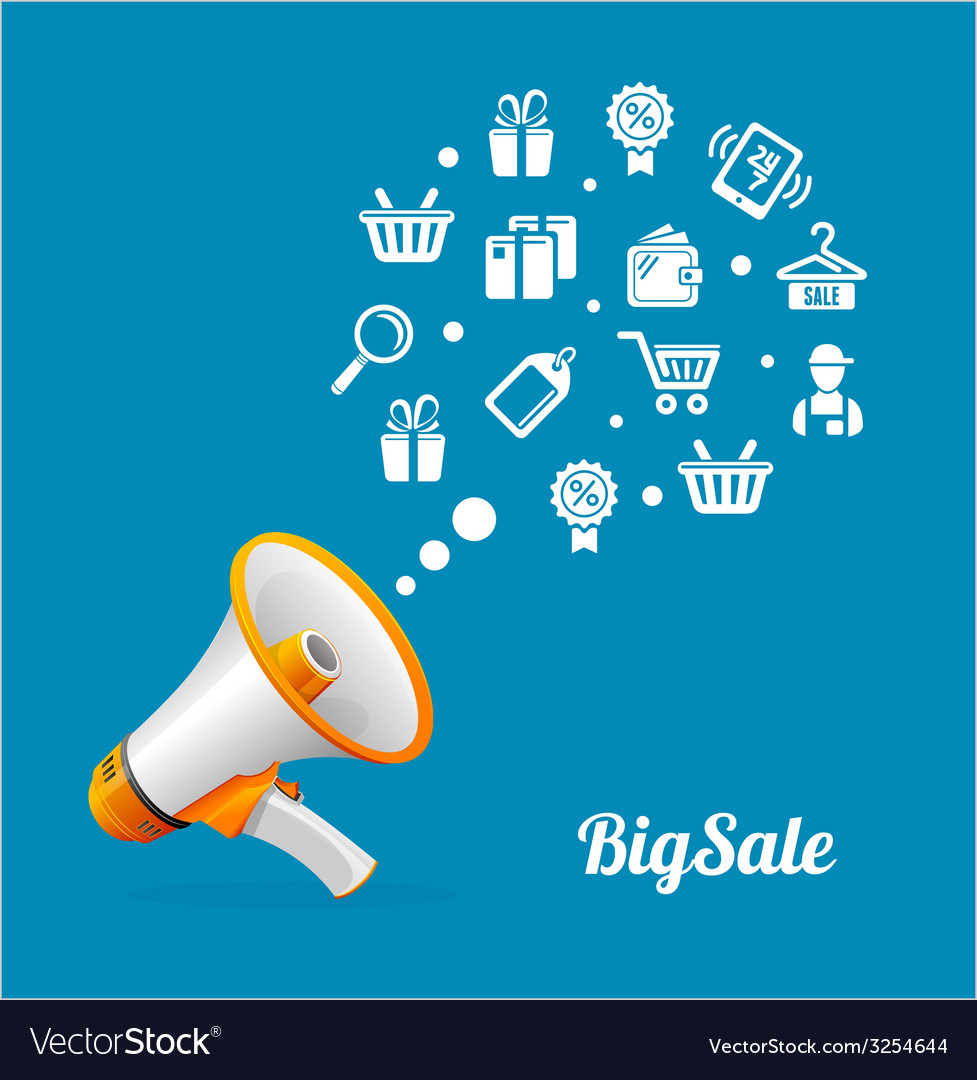 Megaphone and icon big sale concept vector | Price: 1 Credit (USD $1)