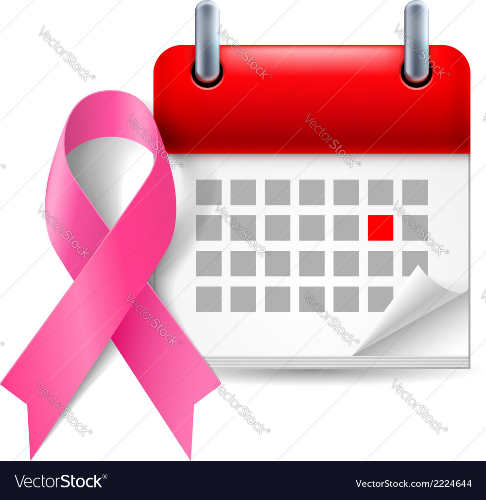Pink awareness ribbon and calendar vector | Price: 1 Credit (USD $1)