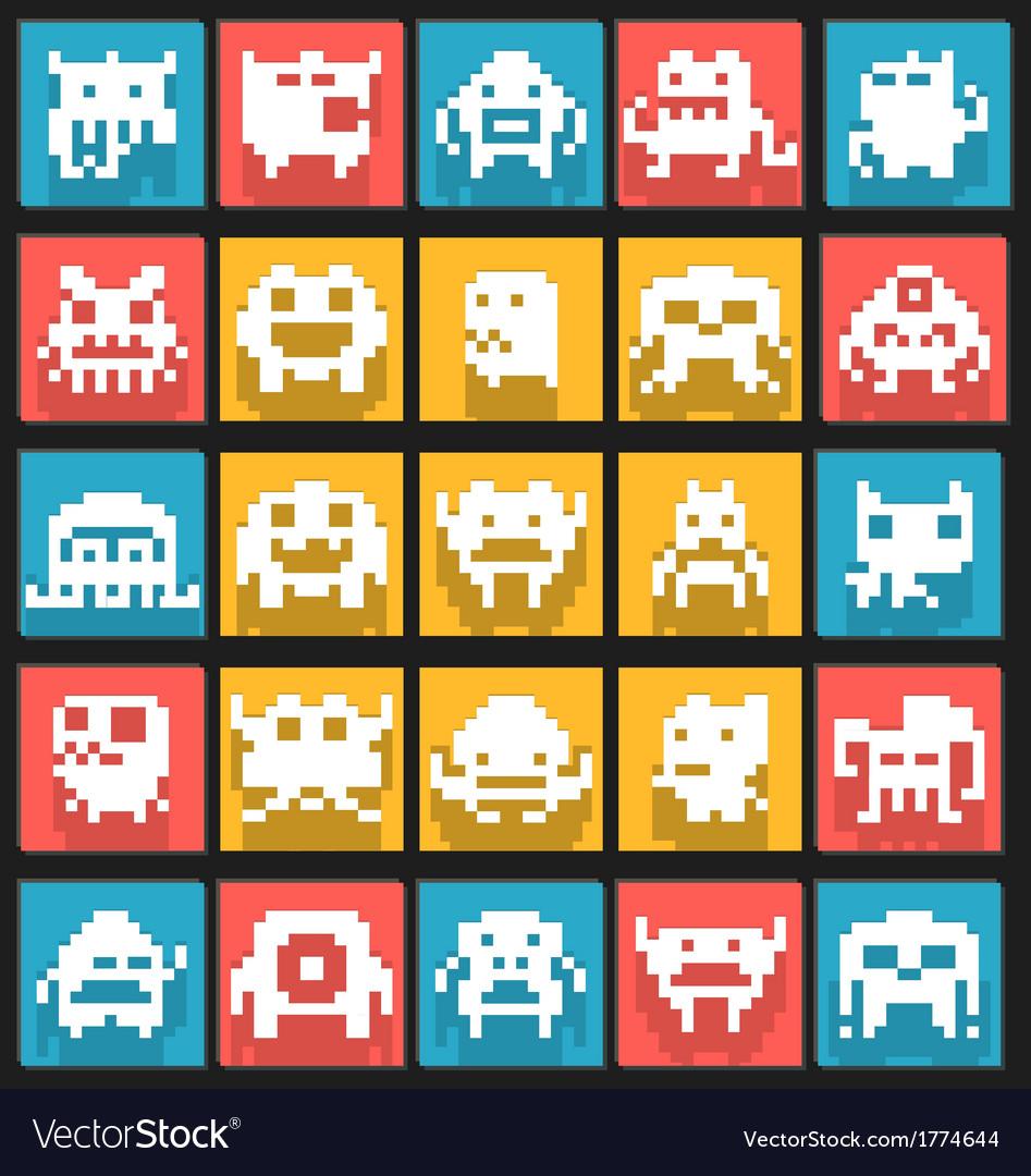 Set of flat pixels art monsters vector | Price: 1 Credit (USD $1)