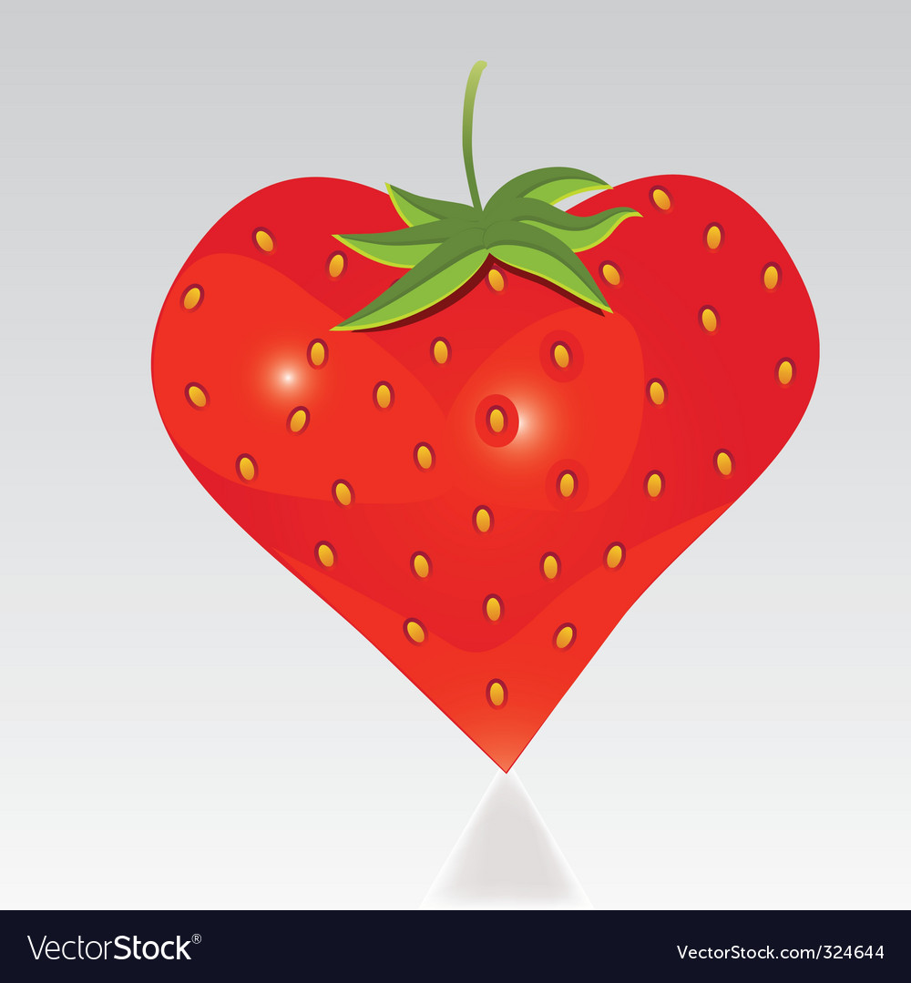 Strawberry with shape like heart vector | Price: 1 Credit (USD $1)
