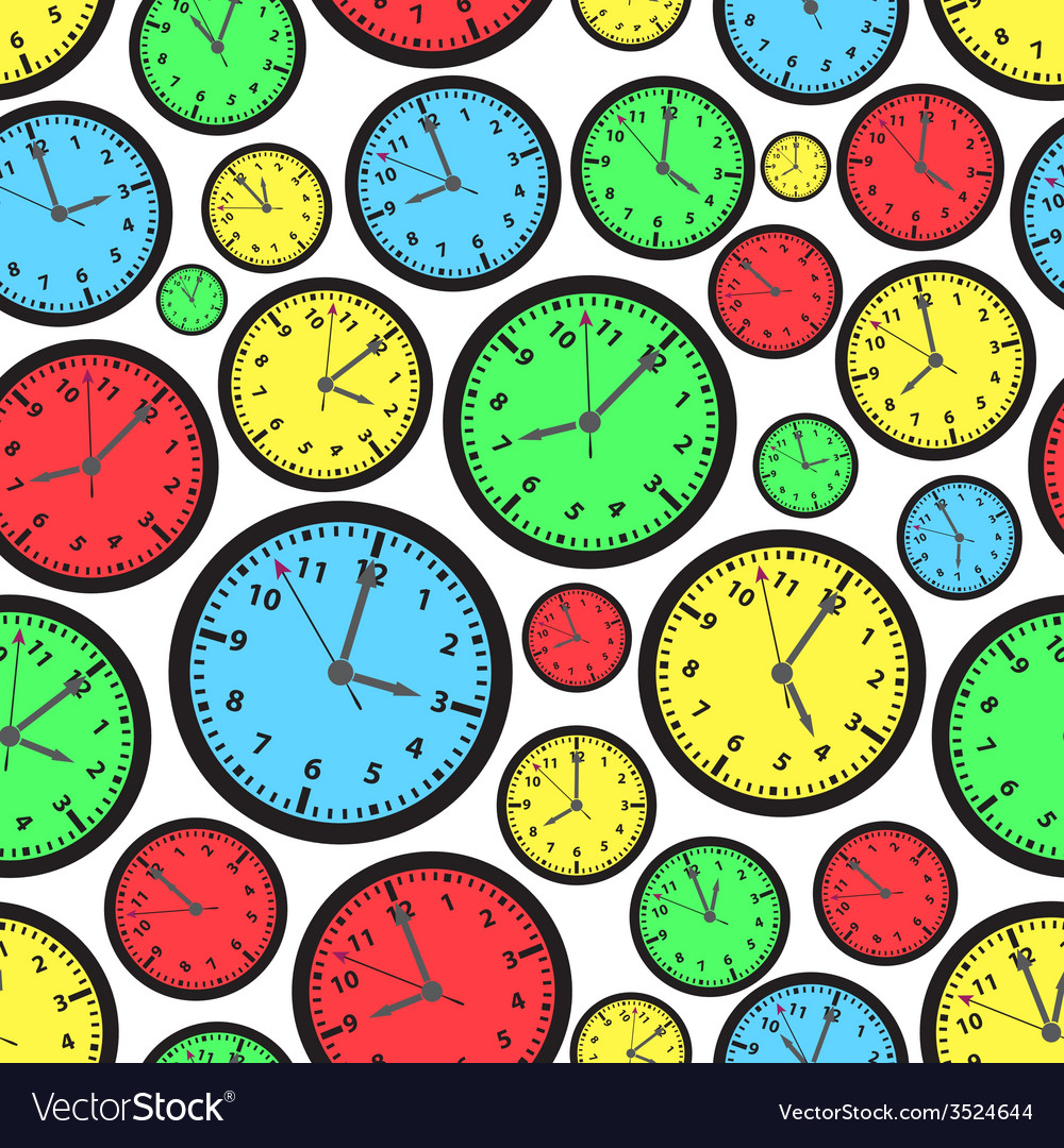 Time zones color clock seamless pattern eps10 vector | Price: 1 Credit (USD $1)