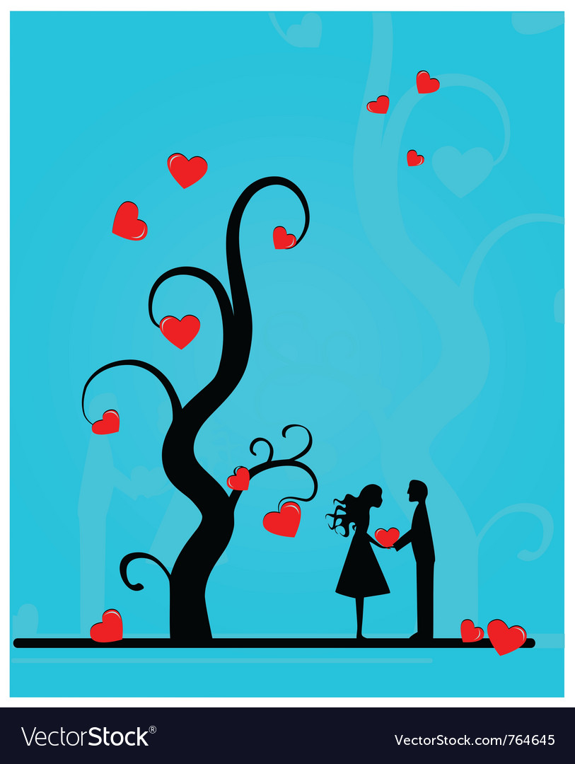 Couple under a tree vector | Price: 1 Credit (USD $1)