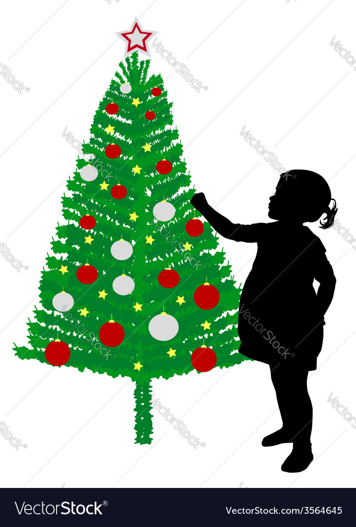 Girl putting decoration on christmas tree vector | Price: 1 Credit (USD $1)