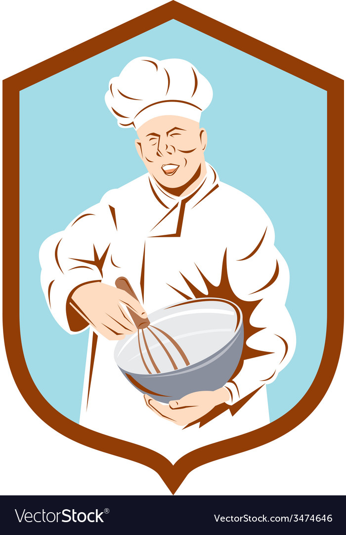 Baker chef cook mixing bowl shield retro vector   Price: 1 Credit (USD $1)