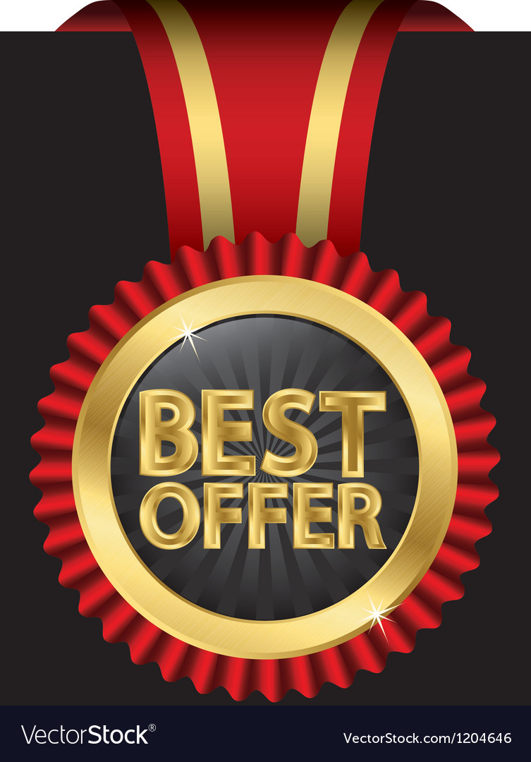 Best offer golden label with red ribbons vector | Price: 3 Credit (USD $3)