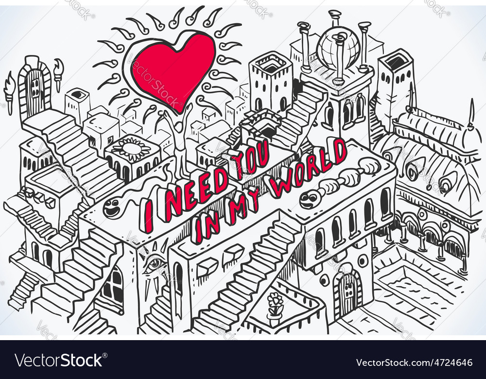 Hand drawn love concept vector | Price: 3 Credit (USD $3)