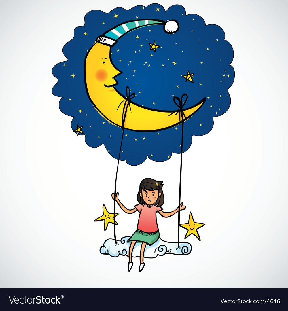 Moon and girl vector | Price: 5 Credit (USD $5)