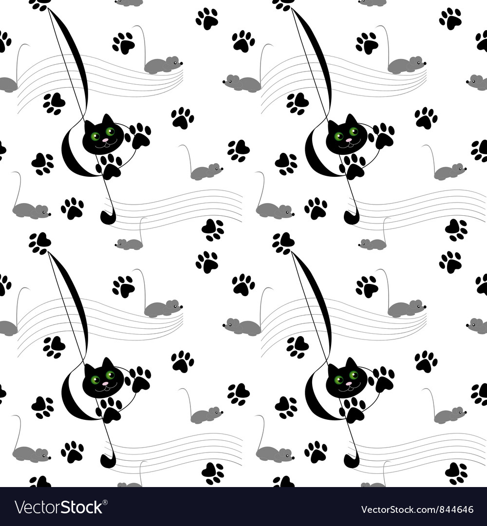Music cats seamless pattern vector | Price: 1 Credit (USD $1)