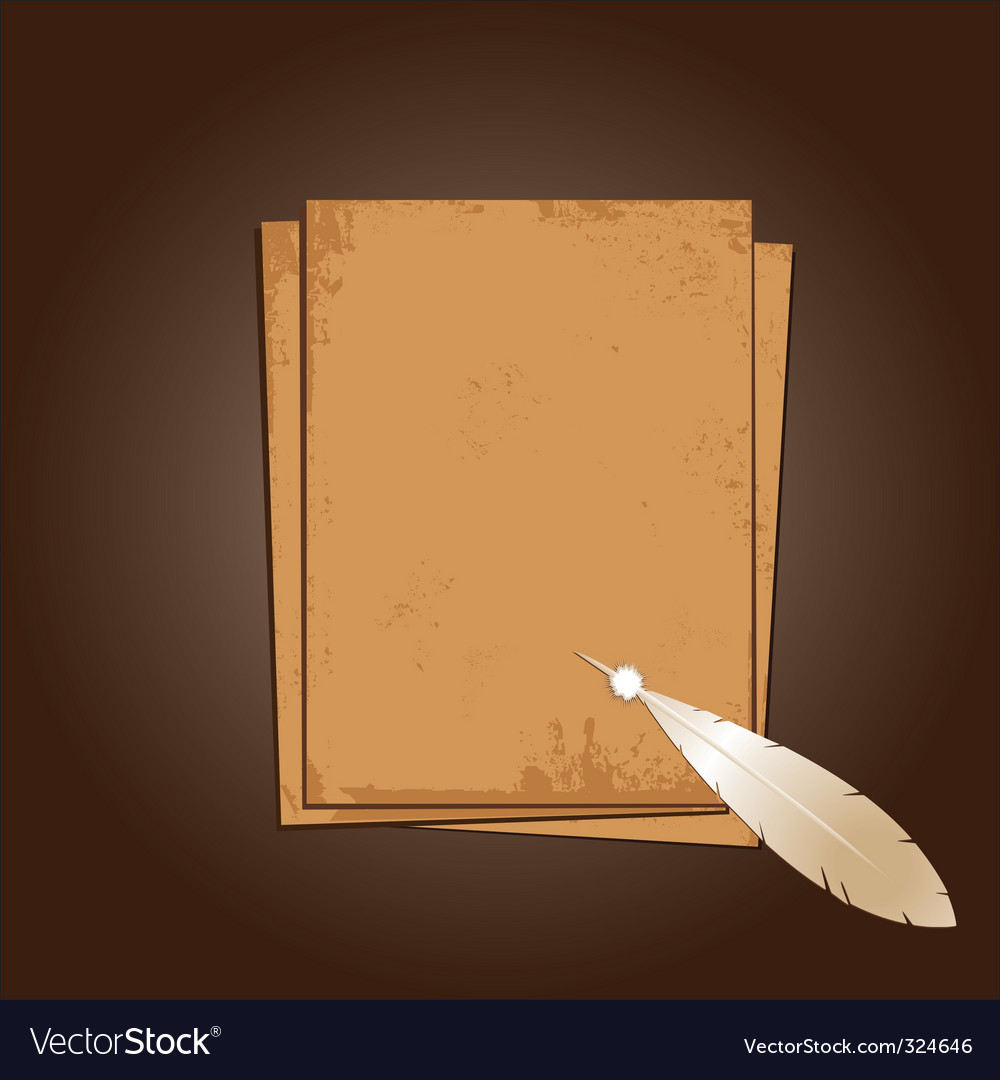 Old paper with feather vector | Price: 1 Credit (USD $1)