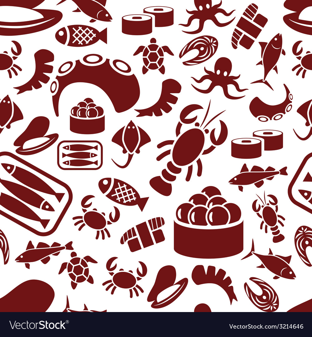 Seafood seamless pattern vector | Price: 1 Credit (USD $1)